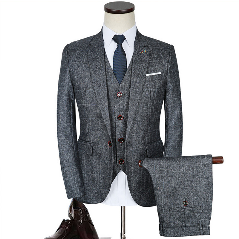 Luxury Mens Grey Suits 3 pieces Jacket+Pants+Vest Formal Dress chinese size Men Suit Set men wedding suits plaid groom tuxedos