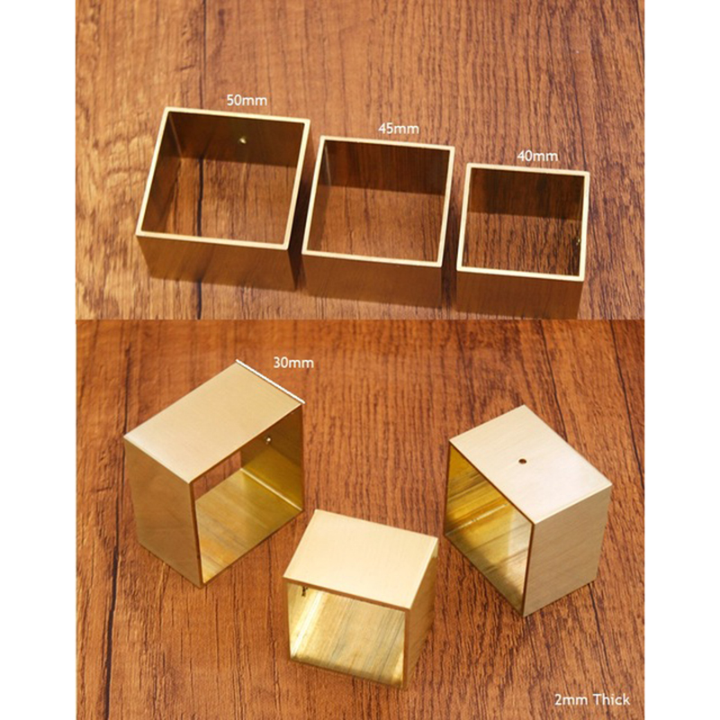 4Pcs Square Brass Tip Cap For Mid-Century Modern Table Leg Feet Replacement Cover And Sofa Foot Cover