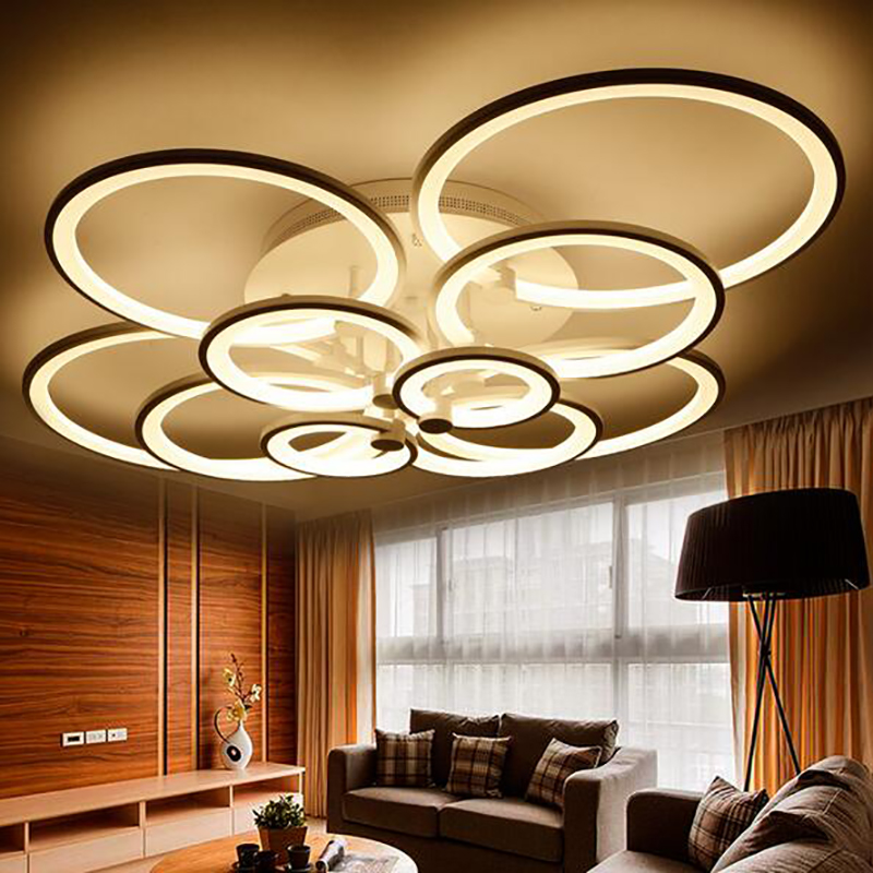 acrylic ring led ceiling lights living room bedroom lamp dimmable plafonnier creative circle. Black Bedroom Furniture Sets. Home Design Ideas