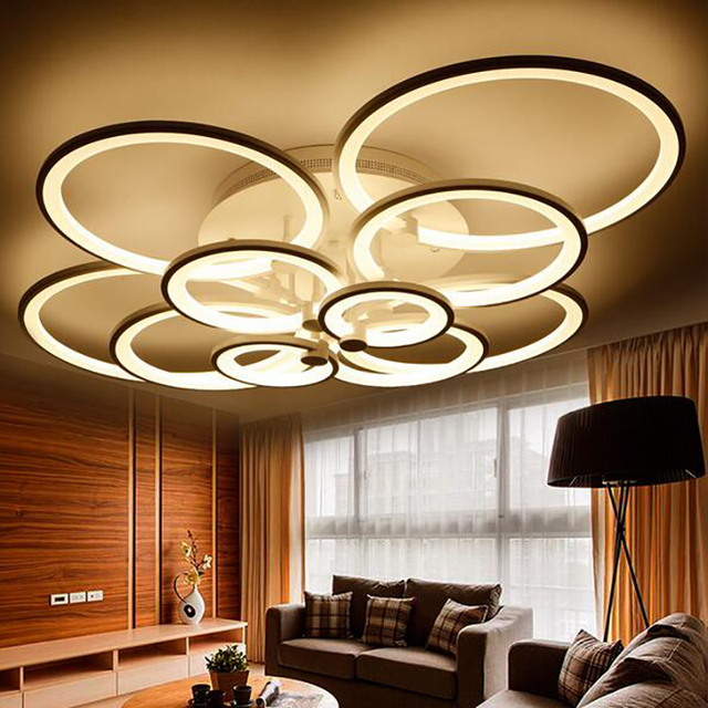 Acrylic Ring Led Ceiling Lights Living Room Bedroom Lamp Dimmable Plafonnier Creative Circle Modern Minimalist Lamps