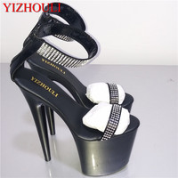 Black Sexy Shoes 8 inch Rhinestone Stiletto Heels 20cm Open Toed High Heeled Sandals Platform ankle Dance Shoes