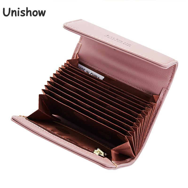 Unishow Card Holders Women Small Coin Purse Hasp Women Credit Card Holder Pu Leather Card Wallet Small Girl Purse Soild Casual ...