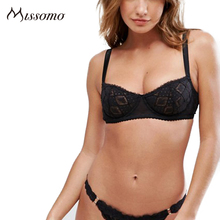 Missomo Lace Sheer Women Bra Silk Sexy Soft Push Up Plus Size Cup Wide Seamless Lingerie