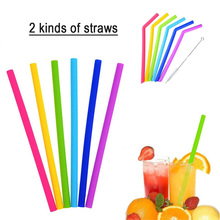 6Pcs Dia 7mm Reusable Silicone Straws Food Grade Drinking With Cleaning Brush Party Straight Bend