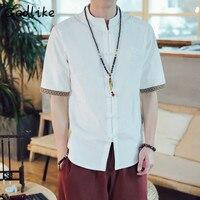2019 new Chinese kimono half sleeve casual street dress men's shirts/men's linen kimono men's shirts/Men's collared shirts