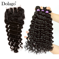 Deep Wave Bundles With Closure 3 4 Brazilian Hair Weave Bundles With Closure Human Virgin Hair Extension Dolago Products