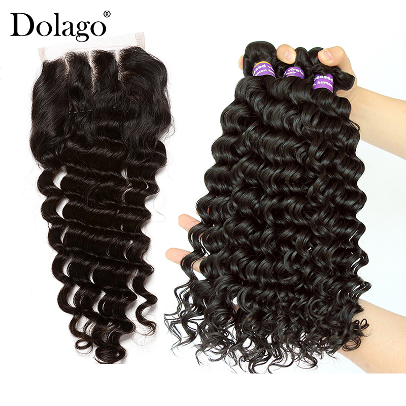 Deep Wave Bundles With Closure 3 4 Brazilian Hair Weave Bundles With Closure Human Virgin Hair Extension Dolago Products