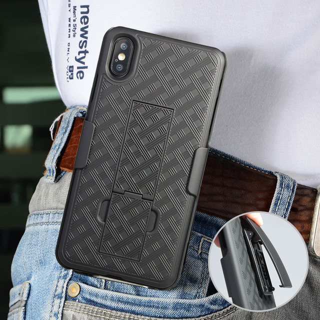 quality design 76d59 e776a US $8.1 10% OFF|For iphone XS MAX case 3in one waist Belt Clip Holster  Stand Phone Cases For iphone X XR XS MAX 7 8plus sport phone holder  cover-in ...