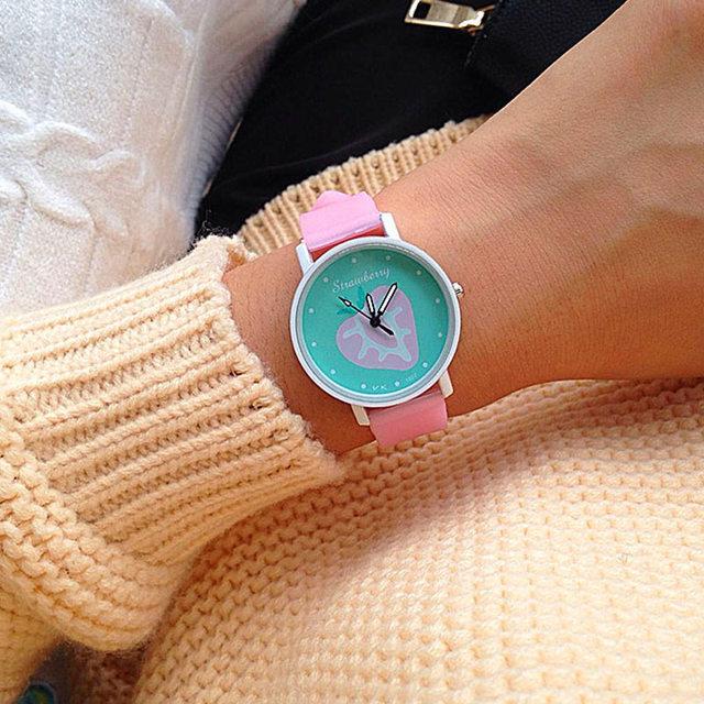 Round WatchFace Student Watches Silicone Strap Analog Quartz Watch Cartoon Fruit