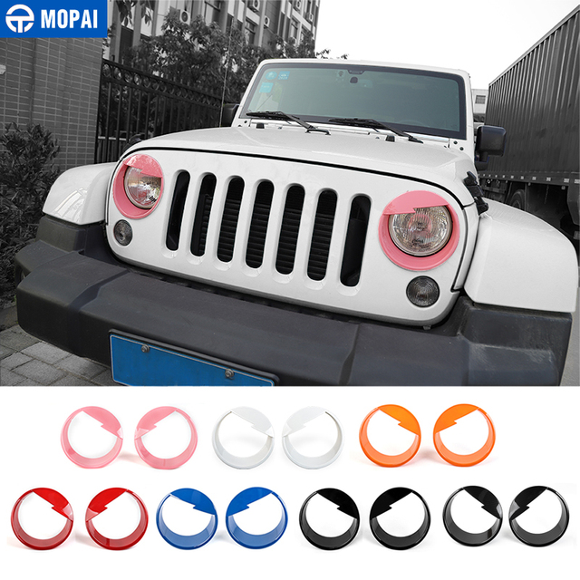 MOPAI Car Front Headlight Head Light Lamp Decoration Cover Exterior Stickers for Jeep Wrangler JK 2007 2016 Car Styling