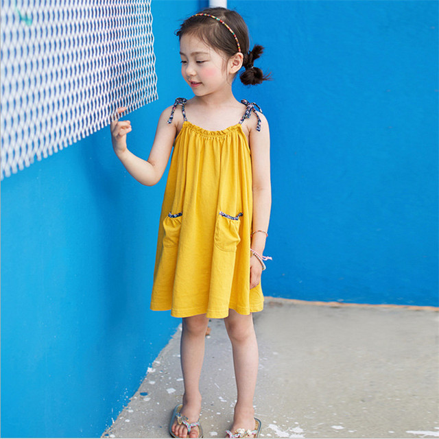 Girls Dress 2018 Summer Casual Solid Sling Sleeveless knee-length Pockets Dresses For Children 100% Cotton Kids Clothes