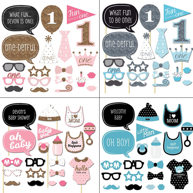 Party Decorations Birthday 1st Photo Booth Props Baby Shower Boy Girls Photobooth Fun Party Birthday Craft Supplies