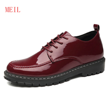 Casual Platform Lace Up Patent Leather Shoes Men Tide Formal Mariage Wedding Dress Oxford for Zapatos Hombre