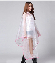 2015 Fashion EVA Polka Dots Raincoat Electric Bicycle Bike RainSuit Women Transparent Cloak Outdoors Rain Ponchos Chubasquero