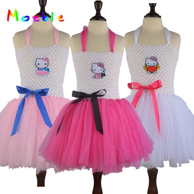 Cartoon KT Baby Girls Summer Tutu Dress Kids Tulle Tutu Dress For Birthday/festival/partychildren Cosplay Costume Girl Clothing