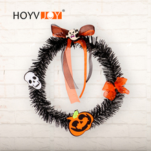 HOYVJOY Halloween Artifical Plants Wreath Terror Series Handmade Garland 25cm Diameter Plastic Festival Decoration Holiday Decor