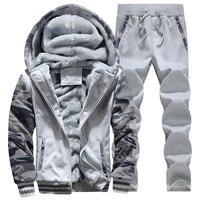 2017 Fashion Velvet Warm Hoode Set New Style Long Sleeve Hoodies And Long Pants Causal Male