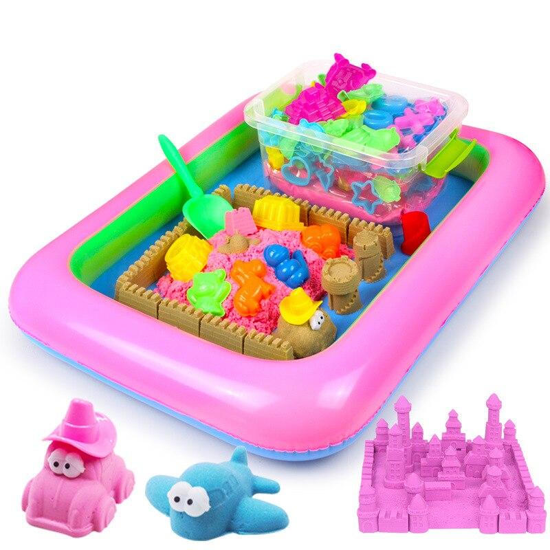 Sable magique incroyable espace jeu sable amusant petits jouets sculpte château Architecture ensemble 42 pièces moules trousse à outils, un Art sensoriel cinétique