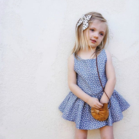 Cute Kids Floral Dress Baby Girl Vest Dress Bust Jacket with Irregular Long Style Plaid Dress with Ruffles for Children