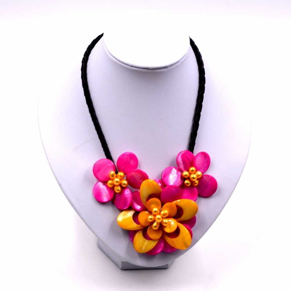 Fashion Women chain jewelry  mop  Hot Pink and yellow shell flower necklace   Jewelry Gift