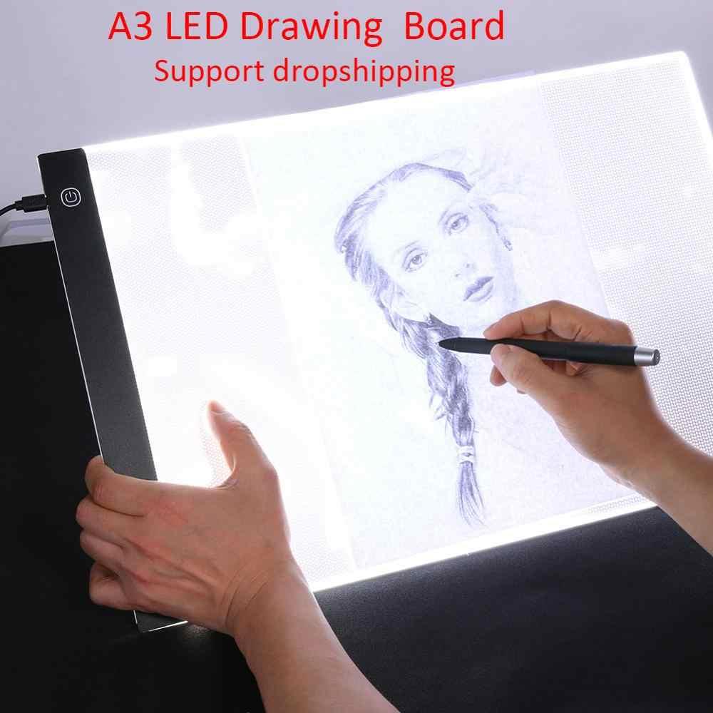 A3 светодиодный цифровой Планшеты графиком Фотофон из тонкой художественной Трафаретный Рисунок световая панель-бокс копировальный стол коврик светодиодный написания картины доска-планшет