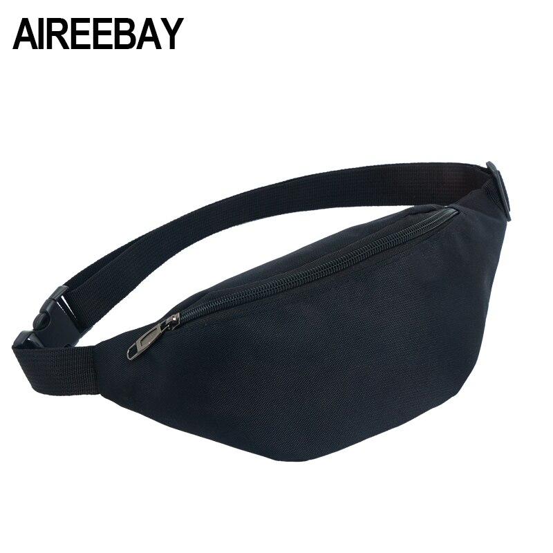 Galleria fotografica AIREEBAY Waist Packs Women Men Fanny Pack Belt Bag Phone Pouch Bags Travel Waist Pack High Quality Small Bum Bag Nylon Pouch