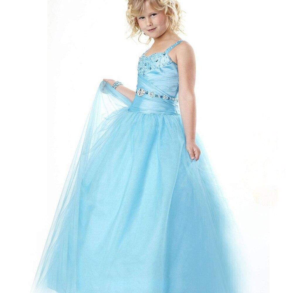 Stunning Flower Girl Dress Spaghetti Strap Draped Square Neck Back Criss Cross Ice Blue Princess Pageant