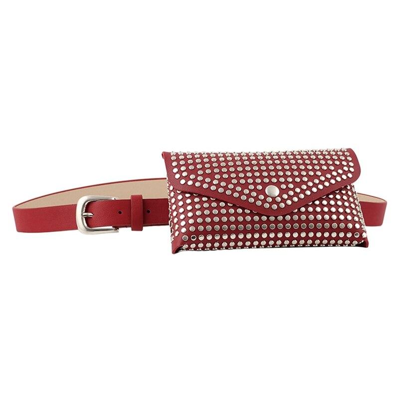 Fashion Rivets Waist Pack Designer Fanny Pack Small Women Waist Bag Phone Pouch Punk Belt Bag Purse