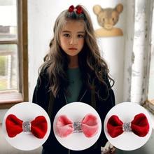 2pcs=1 lot Korea Princess Shiny Velvet Hair Clips Flannel Elastic Band Cotton Bows Hairpins Ties Accessories