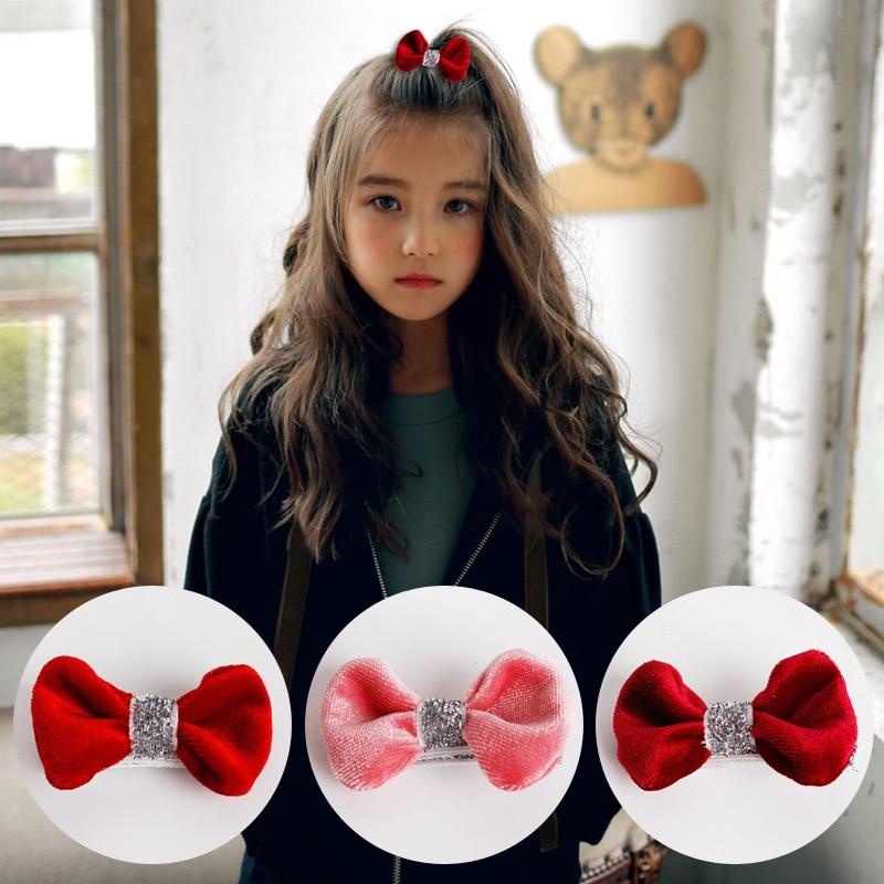 2pcs=1 lot Korea Princess Shiny Velvet Hair Clips Flannel Elastic Band Cotton Bows Hairpins Ties Hair Accessories