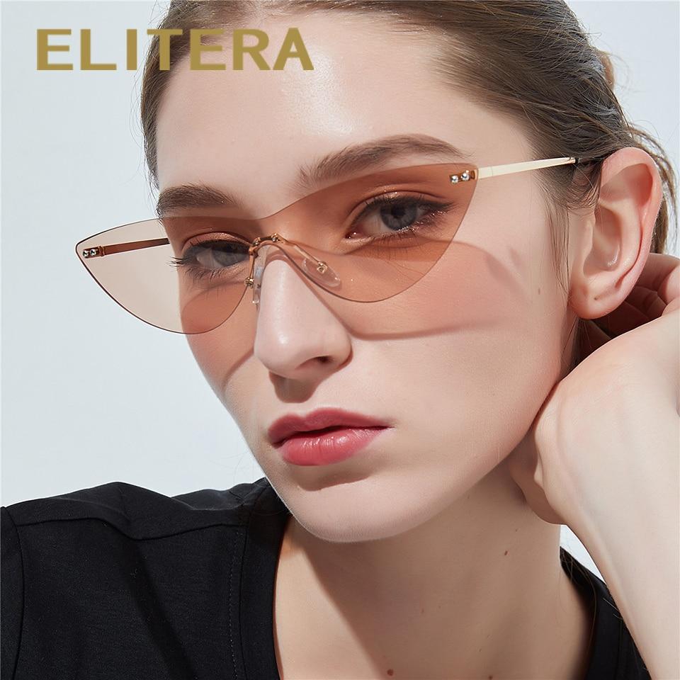 ELITERA Fashion Rimless Cat Eye Sunglasses Women Men Transparent Lens UV Protection Eyewear For Lady Sun Glasses