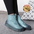 Moda inverno Genuínas Ankle Boots de Couro Sapatos Martin Botas Do Vintage Sapatos Casuais Quente Botas Velet Dentro das Mulheres Artesanais