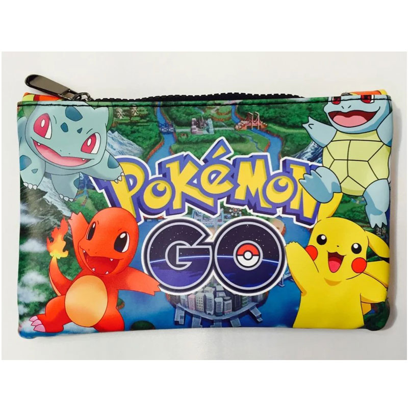 Pocket Monster Pencil Bags Pokemon GO Pikachu Squirtle Printed Pen Case Box Kawaii Cartoon Anime Leather Coin Purse Wallets 8*5