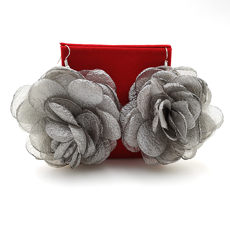 Купить с кэшбэком YD&YDBZ Designer New Grey Big Flower Earrings Jewelry For Women Drop Earring Fashion Punk Style Gift High Quality Handmade