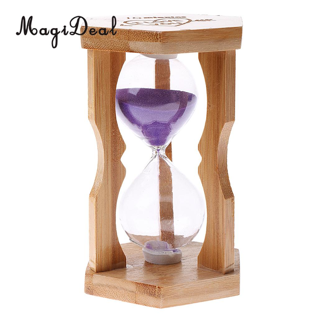 Sand Timer Bamboo Frame Hourglass for Kitchen Home Office Decor 5/10/15 Mins