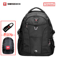 Swisswin Fashion Business Laptop Backpack Multi Compartment Men S Backpack Computer Bagpack For Teenage Students Black
