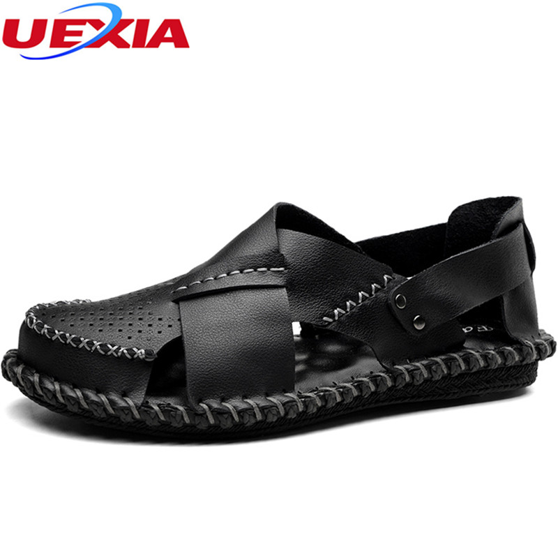 UEXIA New Summer Handmade Mens Sandals Leather Male Sandals High Quality Outdoor Leisure Beach Anti-skid Footwear for Man Shoes