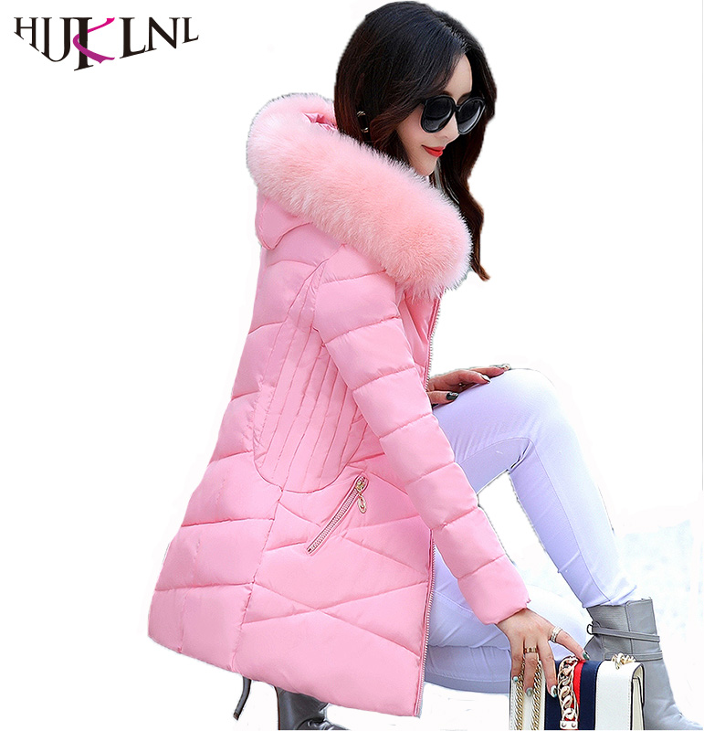 HIJKLNL Korean Style Winter Coat Women 2017 Wadded Jacket Women Hooded Fur Collar Thick Warm Parkas
