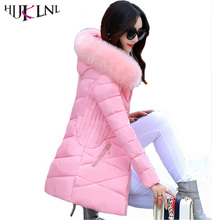 HIJKLNL Korean Style Winter Coat Women 2017 Wadded Jacket Women Hooded Fur Collar Thick Warm Parkas Cotton Padded Outwear NA405