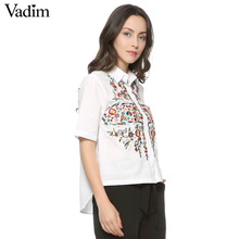 Women sweet floral embroidery shirts