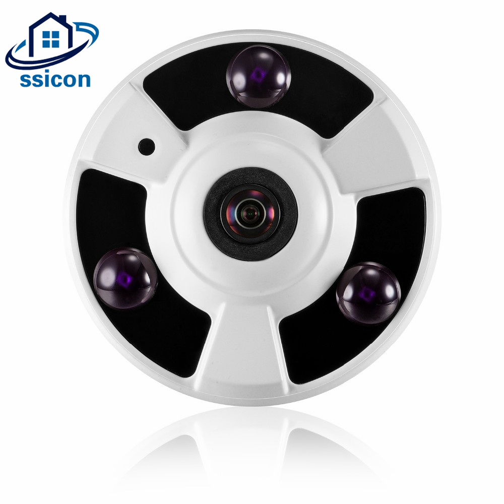 SSICON 2MP Wide Angle Network Panoramic IP Camera 180 Degree 360 Degree 3Pcs Array Leds Fisheye Security Dome IP Camera Onvif