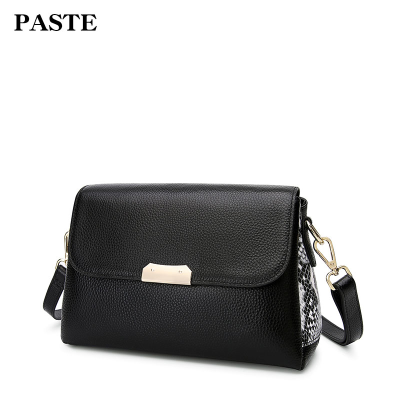 Paste women bag New 2018 Gneuine cowskin leather mix snake pattern Genuine leather shoulder bag fashion message bag P3010 yuanyu 2018 new hot free shipping real python leather women clutch women hand caught bag women bag long snake women day clutches