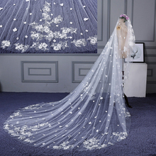 Горячая Распродажа настоящая фотография вуаль невесты для венчания полная аппликация обрезанная кромка 1 т длинные 4*3 м Длинные Свадебные вуали белый veu de noiva без гребня