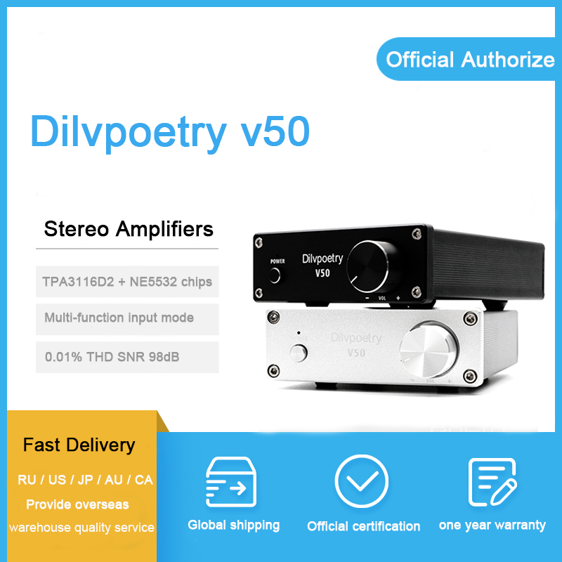 Dilvpoésie v50 amplificateur de puissance classe d audio 2*50 w 100 w tpa3116d2 2.1 amplificateur stéréo NE5532P