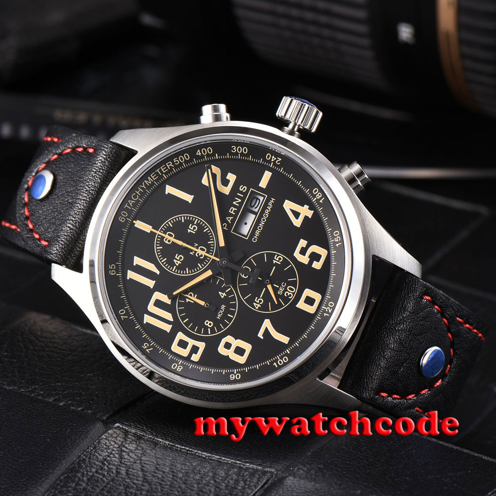 43mm parnis black dial orange marks date week Full chronograph quartz mens watch цена