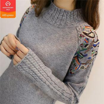 3eae23c9a 2019 de moda Coreana de las mujeres suéteres y suéter Mujer volantes manga  cuello alto sólido suelto elástico Sexy mujeres