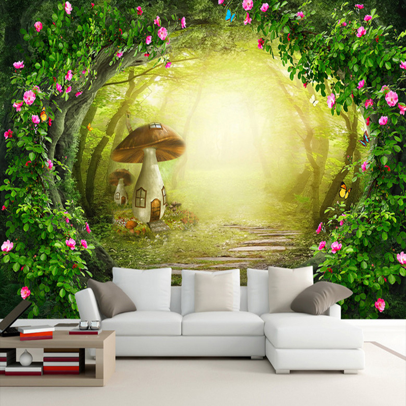 Flower Vine Mushroom House Forest Living Room Background Decor Large Custom Wall Mural Non-woven Fabric Wallpaper For Walls Roll