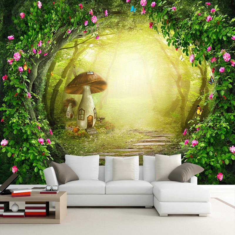 Flower Vine Mushroom House Forest Living Room Background Decor Large Custom Wall Mural Non-woven Fabric Wallpaper For Walls Roll