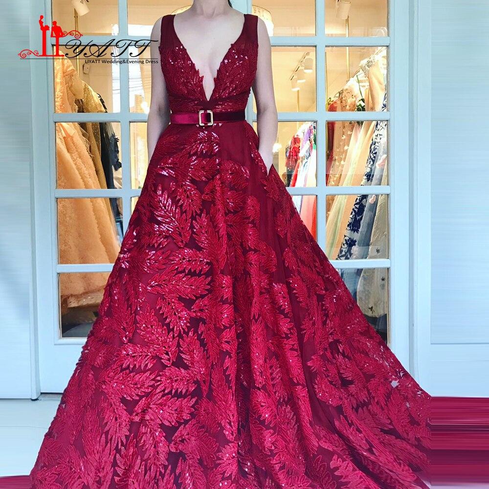 Liyatt 2018 Burgundy Wine Red Lace Sexy Deep V-neck Evening Dress Belt Waist Puffy Ball Gown Elegant New Arrival Party Gown