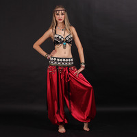 Size S XL Belly Dancing Clothes Tribal 2pcs Set Coins Bra Tassel Hip Scarf Tribal Belly